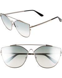 38a71e115c298 Tom Ford - Jacquelyn 64mm Cat Eye Sunglasses - Light Ruthenium  Blue Mirror  - Lyst