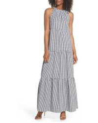 Maggy London - Gingham Check Maxi Dress - Lyst