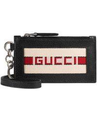 Gucci - Fake Logo Leather Lanyard Card Case - - Lyst