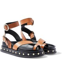 TOPSHOP - Fawn Tan Footbed Sandals - Lyst