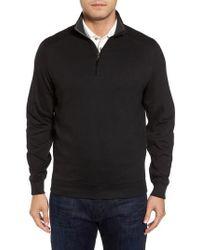 David Donahue - Interlock Knit Quarter Zip Pullover - Lyst