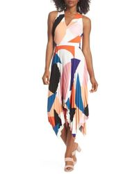 Maggy London - Print Handkerchief Hem Midi Dress - Lyst