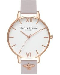 Olivia Burton - 3d Bee Leather Strap Watch - Lyst