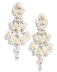 Tory Burch - Beaded Chandelier Earrings - Lyst
