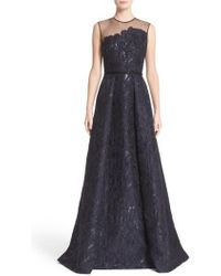 Carmen Marc Valvo - Illusion Yoke Embroidered Jacquard A-line Gown - Lyst