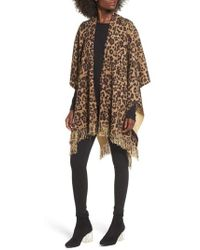 Sole Society - Leopard Print Fringe Wrap - Lyst