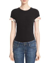 Burberry - Check Trim Tee - Lyst