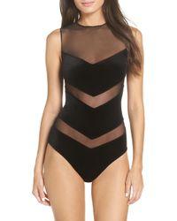 Felina - Marabelle Mesh Velvet Bodysuit - Lyst