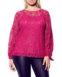 City Chic Metallic Detail Cotton Blend Lace Blouse - Pink