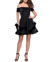 La Femme - Off The Shoulder Velvet & Tulle Party Dress - Lyst