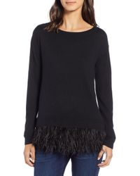 Chelsea28 - Feather Trim Sweater - Lyst