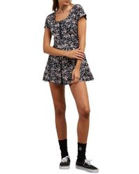 Volcom - What A Looker Floral Print Romper - Lyst