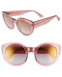 DIFF - Luna 54mm Polarized Round Sunglasses - Quartz Glitter/ Rose - Lyst