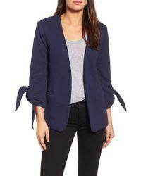 Olivia Moon - Tie Sleeve Knit Blazer - Lyst