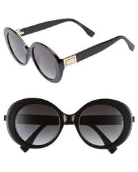 2369ff5475c Lyst - Fendi 55mm Retro Sunglasses - Shiny Black in Black