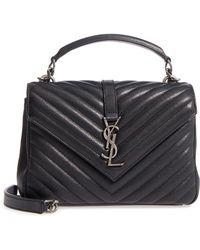 10d3f67653f Saint Laurent Medium Monogramme College Bag With Wooden Handle in Brown -  Lyst