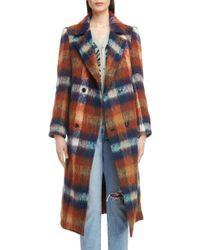 Toga - Long Plaid Shaggy Wool & Mohair Blend Coat - Lyst