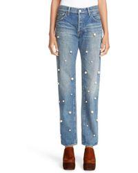 Tu Es Mon Tresor | Imitation Pearl Embellished Jeans | Lyst