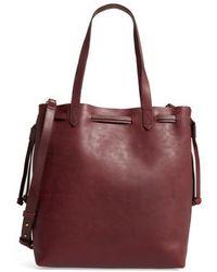 Madewell - Medium Transport Leather Bucket Bag - Burgundy - Lyst