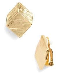 Karine Sultan - Brushed Square Clip-on Earrings - Lyst