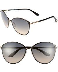 Tom Ford Penelope 59mm Gradient Cat Eye Sunglasses - Shiny Rose Gold/ Black - Pink