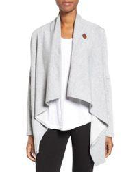 Bobeau | One-Button Fleece Wrap Cardigan | Lyst