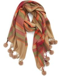 Sole Society - Plaid Scarf With Pompom Fringe - Lyst