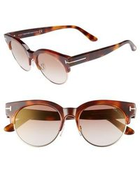 Tom Ford - Henri 52mm Semi-rimless Sunglasses - Blonde Havana/ Brown Mirror - Lyst