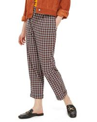 TOPSHOP - Tapered Checkered Trousers - Lyst