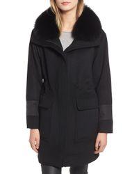 Trina Turk - Whitney Genuine Fox Fur Trim Coat - Lyst