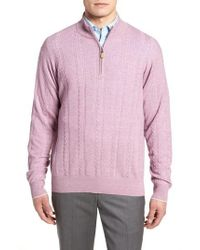 Peter Millar - Crown Fleece Cashmere & Linen Quarter Zip Sweater - Lyst