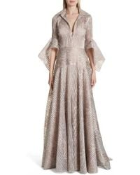 Badgley Mischka - Metallic Texture Stripe Organza Gown - Lyst