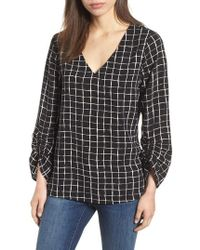 Bobeau - Ruched Sleeve Stretch Crepe Blouse - Lyst