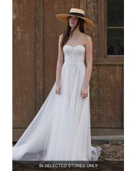 WILLOWBY Ophelia Beaded Lace Strapless A-line Wedding Dress - White