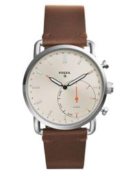 Fossil - Commuter Leather Strap Hybrid Smart Watch - Lyst