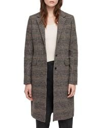 AllSaints - Indra Wool & Cotton Blend Check Coat - Lyst