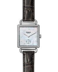 Shinola - Cass Diamond Leather Strap Watch - Lyst