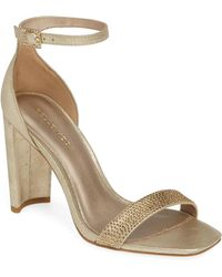 7f14b73f7e2d Lyst - Carvela Kurt Geiger Groove Pink Embellished Block Heel Sandals