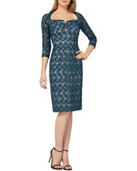 Kay Unger - Geometric Embroidered Cocktail Sheath - Lyst