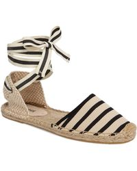 Soludos - Women's Striped Ankle-wrap Espadrilles - Natural - Lyst