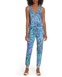85ca0f4caac6 Lyst - Lilly Pulitzer Lilly Pulitzer Paulina Racerback Jumpsuit in Blue
