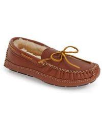 Minnetonka - Genuine Shearling Lined Leather Slipper - Lyst