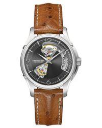Hamilton - Jazzmaster Open Heart Automatic Ostrich Strap Watch - Lyst