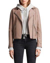AllSaints - Dalby Leather Biker Jacket - Lyst