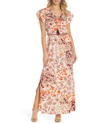 Adrianna Papell - Floral Ruffle Sleeve Maxi Dress - Lyst