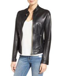 Lamarque - Lambskin Leather Biker Jacket - Lyst