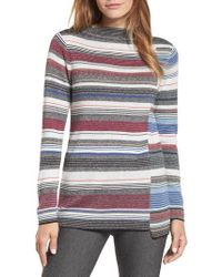 NIC+ZOE - Banded Cotton Blend Offset Stripe Sweater - Lyst