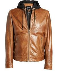 Lamarque - Leather Moto Jacket With Removable Hood - Lyst