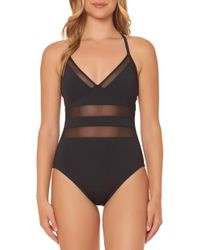 Bleu Rod Beattie - Bleu By Rod Beattie Mesh Inset One-piece Swimsuit - Lyst