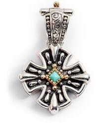 Konstantino Trillion Small Stone Cross Pendant - Metallic